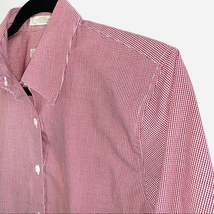 Orvis Red and White Checked Button Down Top